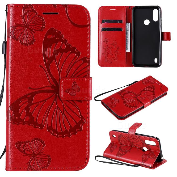 Embossing 3D Butterfly Leather Wallet Case for Motorola Moto E6s (2020) - Red