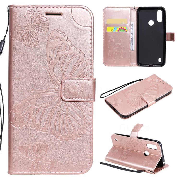 Embossing 3D Butterfly Leather Wallet Case for Motorola Moto E6s (2020) - Rose Gold