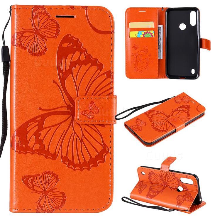 Embossing 3D Butterfly Leather Wallet Case for Motorola Moto E6s (2020) - Orange