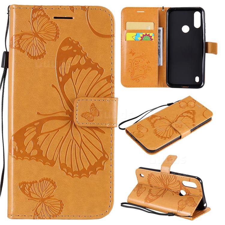 Embossing 3D Butterfly Leather Wallet Case for Motorola Moto E6s (2020) - Yellow