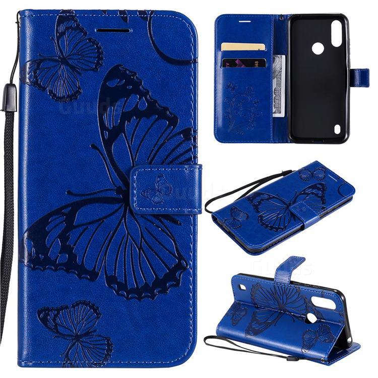 Embossing 3D Butterfly Leather Wallet Case for Motorola Moto E6s (2020) - Blue