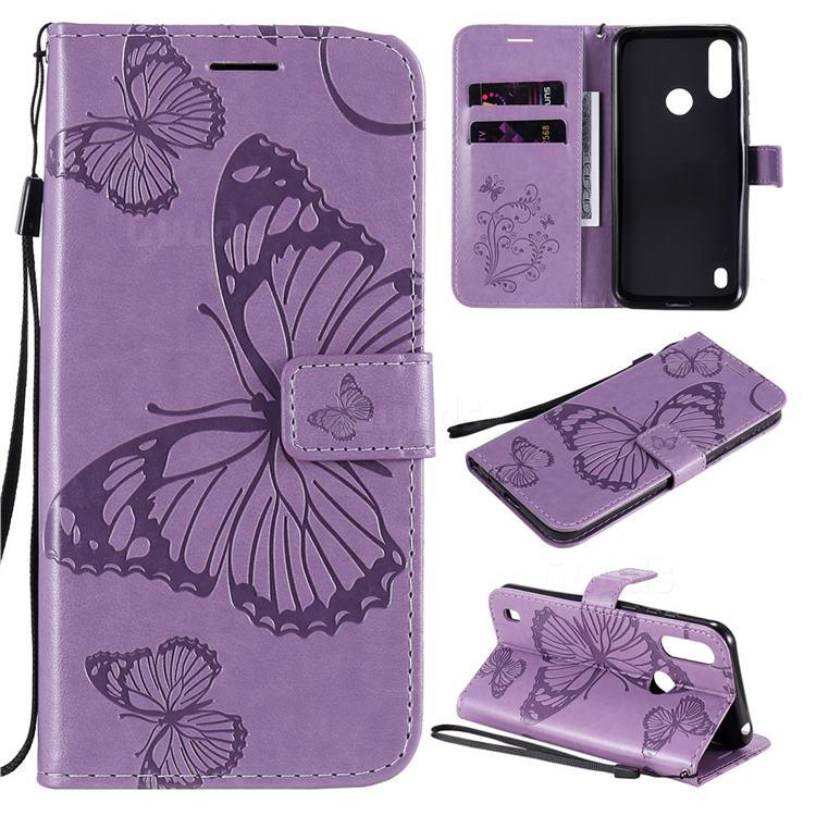 Embossing 3D Butterfly Leather Wallet Case for Motorola Moto E6s (2020) - Purple