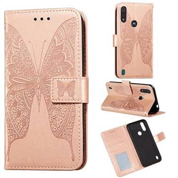 Intricate Embossing Vivid Butterfly Leather Wallet Case for Motorola Moto E6s (2020) - Rose Gold