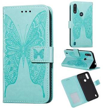 Intricate Embossing Vivid Butterfly Leather Wallet Case for Motorola Moto E6s (2020) - Green