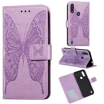 Intricate Embossing Vivid Butterfly Leather Wallet Case for Motorola Moto E6s (2020) - Purple