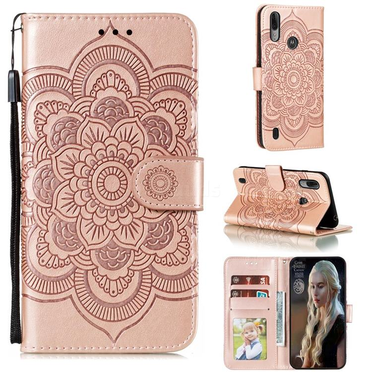 Intricate Embossing Datura Solar Leather Wallet Case for Motorola Moto E6s (2020) - Rose Gold