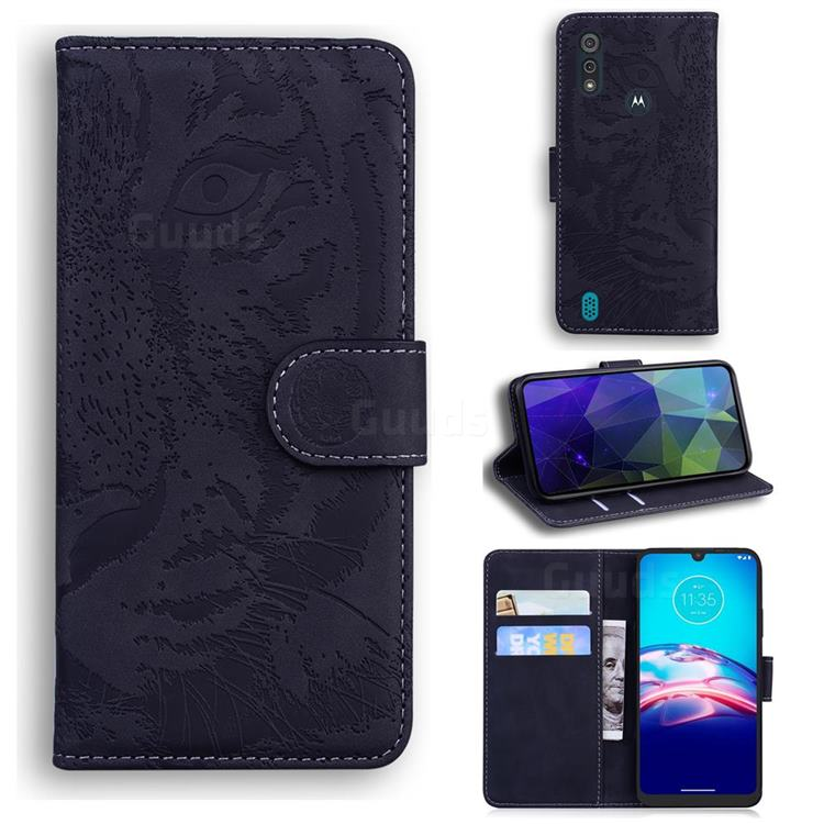 Intricate Embossing Tiger Face Leather Wallet Case for Motorola Moto E6s (2020) - Black