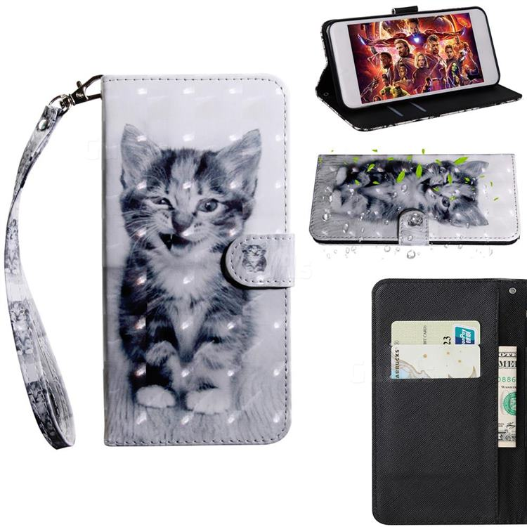 Smiley Cat 3D Painted Leather Wallet Case for Motorola Moto E6s (2020)