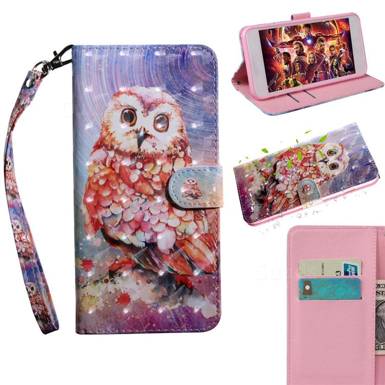 Colored Owl 3D Painted Leather Wallet Case for Motorola Moto E6s (2020)