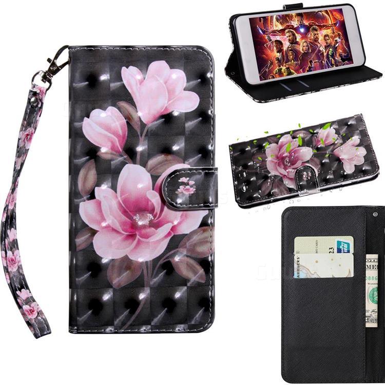 Black Powder Flower 3D Painted Leather Wallet Case for Motorola Moto E6s (2020)