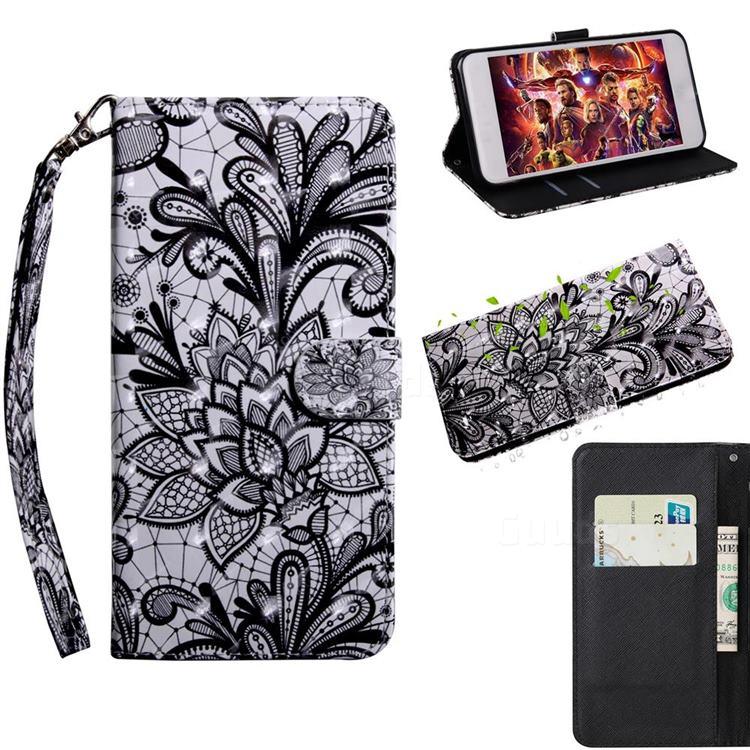 Black Lace Rose 3D Painted Leather Wallet Case for Motorola Moto E6s (2020)