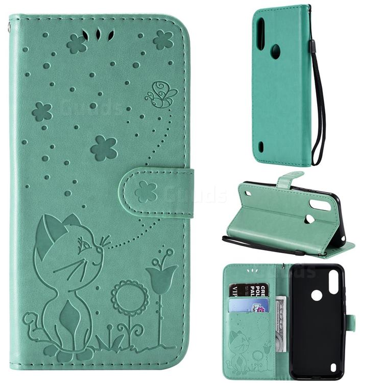 Embossing Bee and Cat Leather Wallet Case for Motorola Moto E6s (2020) - Green