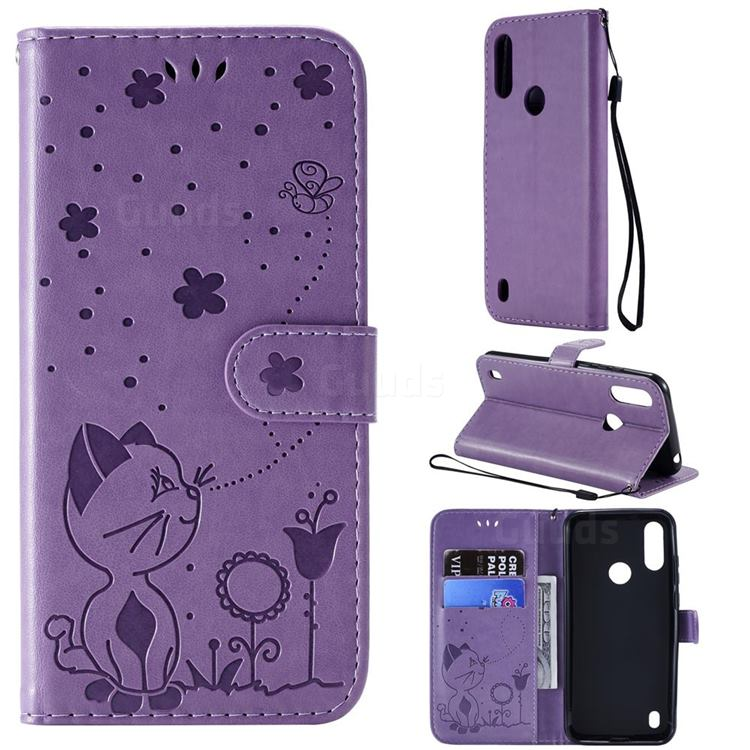 Embossing Bee and Cat Leather Wallet Case for Motorola Moto E6s (2020) - Purple