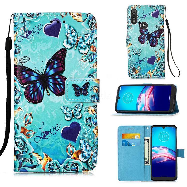 Love Butterfly Matte Leather Wallet Phone Case for Motorola Moto E6s (2020)