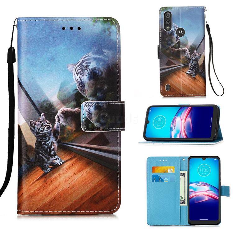 Mirror Cat Matte Leather Wallet Phone Case for Motorola Moto E6s (2020)