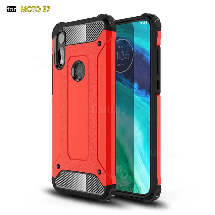 King Kong Armor Premium Shockproof Dual Layer Rugged Hard Cover for Motorola Moto E7 - Big Red