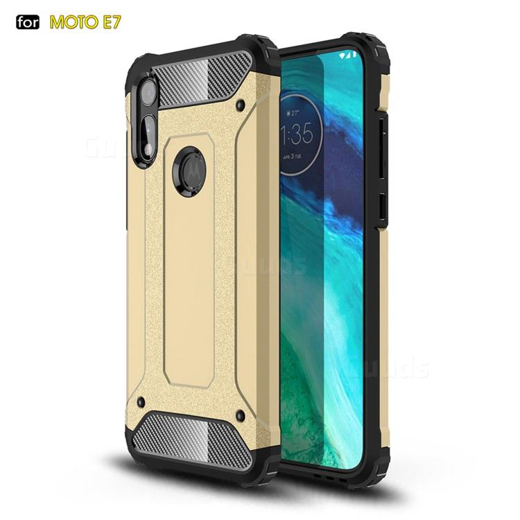 King Kong Armor Premium Shockproof Dual Layer Rugged Hard Cover for Motorola Moto E7 - Champagne Gold