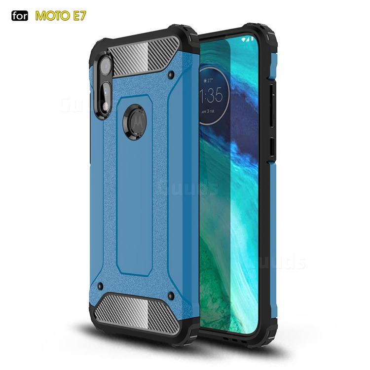 King Kong Armor Premium Shockproof Dual Layer Rugged Hard Cover for Motorola Moto E7 - Sky Blue