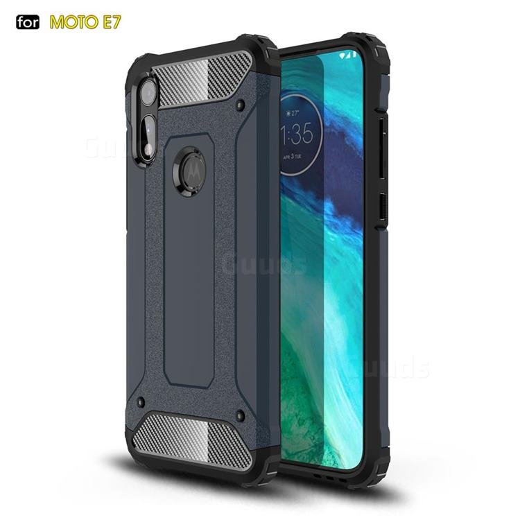 King Kong Armor Premium Shockproof Dual Layer Rugged Hard Cover for Motorola Moto E7 - Navy