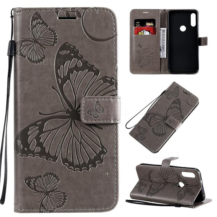 Embossing 3D Butterfly Leather Wallet Case for Motorola Moto E7 - Gray