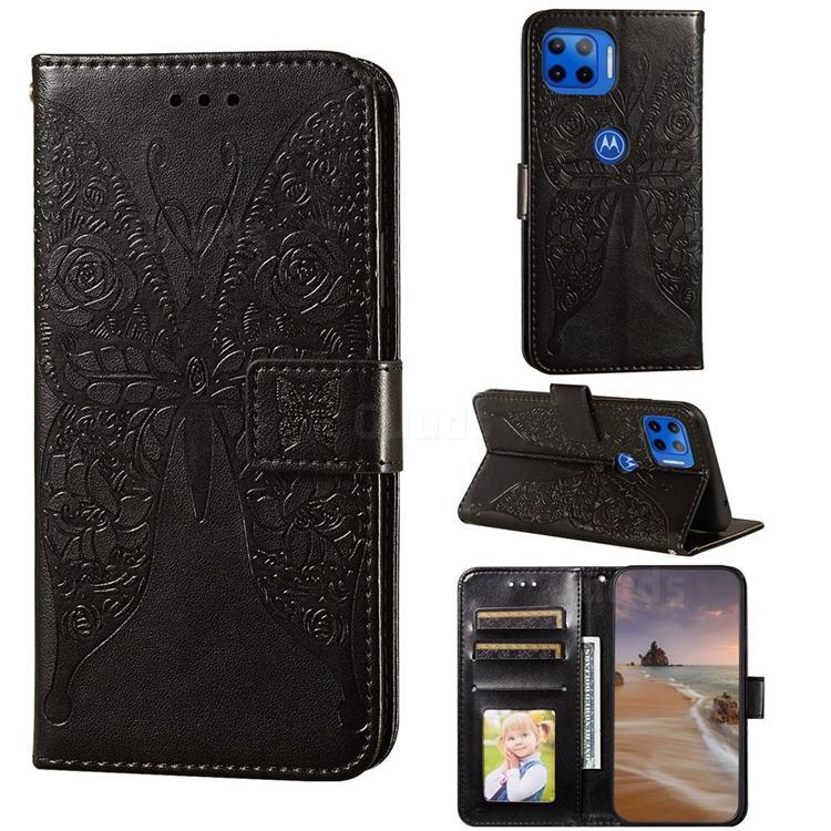 Intricate Embossing Rose Flower Butterfly Leather Wallet Case for Motorola Moto E7(Moto E 2020) - Black