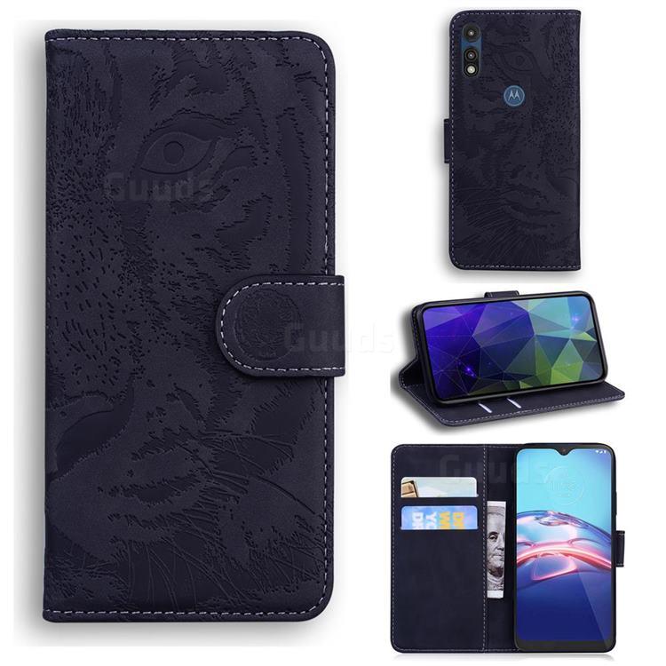 Intricate Embossing Tiger Face Leather Wallet Case for Motorola Moto E7(Moto E 2020) - Black