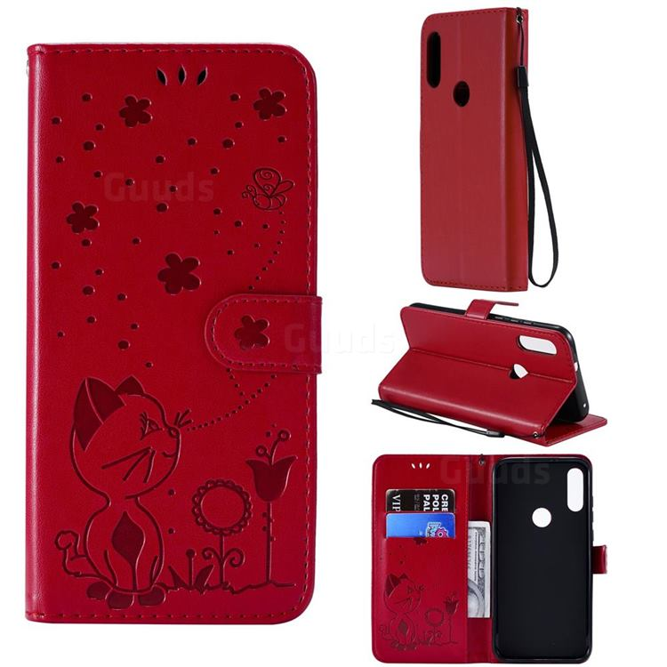 Embossing Bee and Cat Leather Wallet Case for Motorola Moto E7(Moto E 2020) - Red