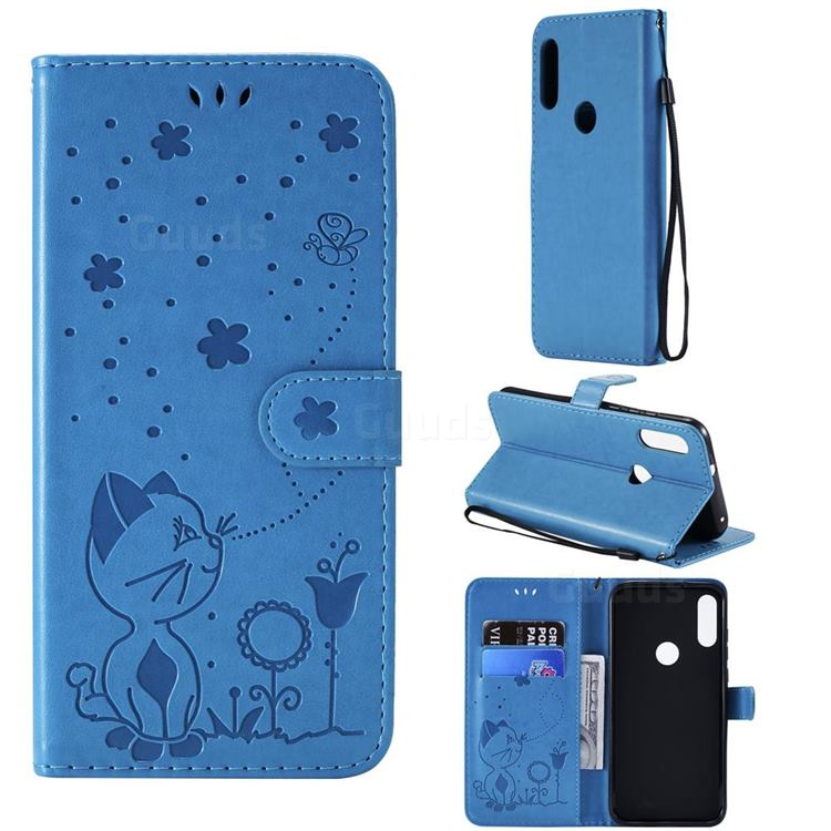 Embossing Bee and Cat Leather Wallet Case for Motorola Moto E7(Moto E 2020) - Blue