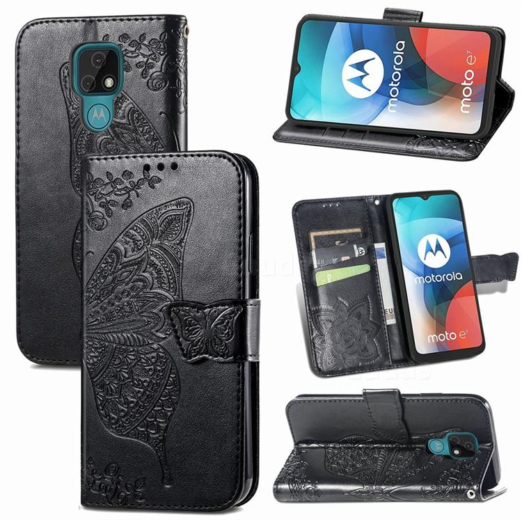 Embossing Mandala Flower Butterfly Leather Wallet Case for Motorola Moto E7(Moto E 2020) - Black