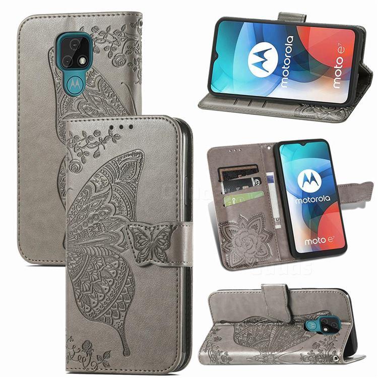 Embossing Mandala Flower Butterfly Leather Wallet Case for Motorola Moto E7(Moto E 2020) - Gray