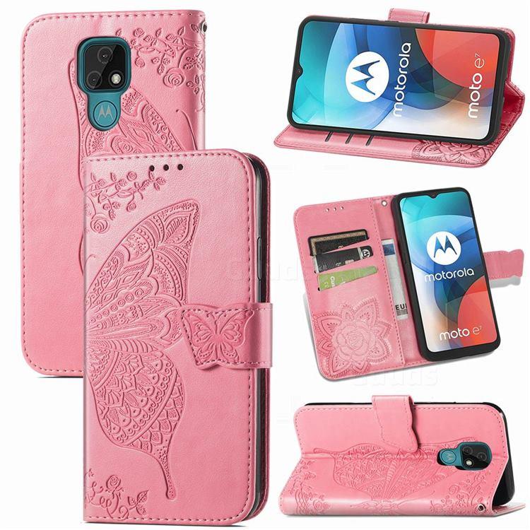 Embossing Mandala Flower Butterfly Leather Wallet Case for Motorola Moto E7(Moto E 2020) - Pink