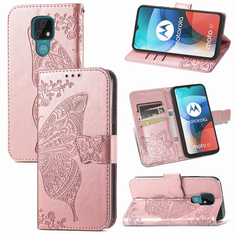 Embossing Mandala Flower Butterfly Leather Wallet Case for Motorola Moto E7(Moto E 2020) - Rose Gold