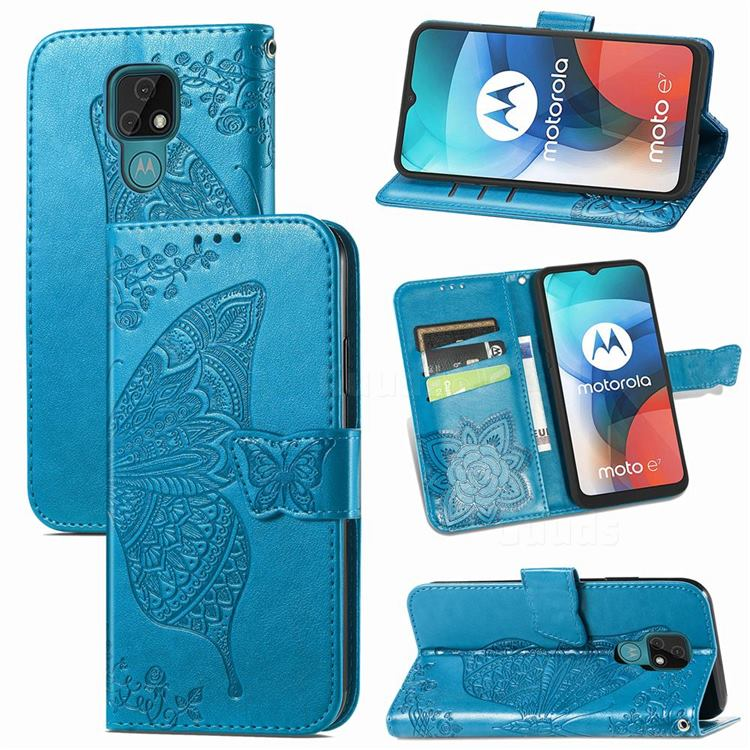 Embossing Mandala Flower Butterfly Leather Wallet Case for Motorola Moto E7(Moto E 2020) - Blue