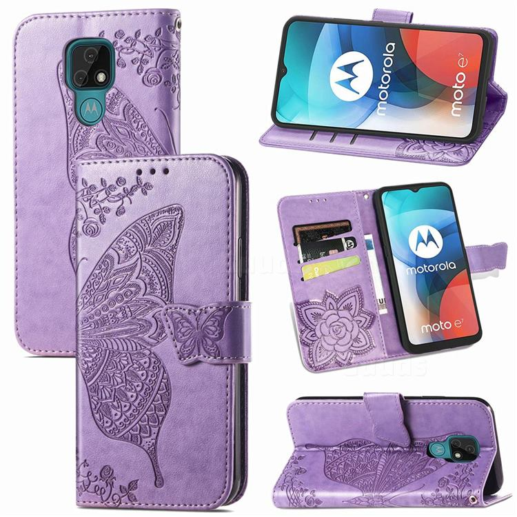 Embossing Mandala Flower Butterfly Leather Wallet Case for Motorola Moto E7(Moto E 2020) - Light Purple