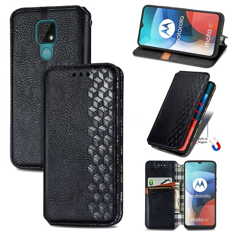 Ultra Slim Fashion Business Card Magnetic Automatic Suction Leather Flip Cover for Motorola Moto E7(Moto E 2020) - Black