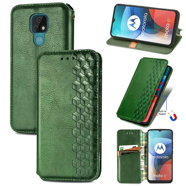 Ultra Slim Fashion Business Card Magnetic Automatic Suction Leather Flip Cover for Motorola Moto E7(Moto E 2020) - Green