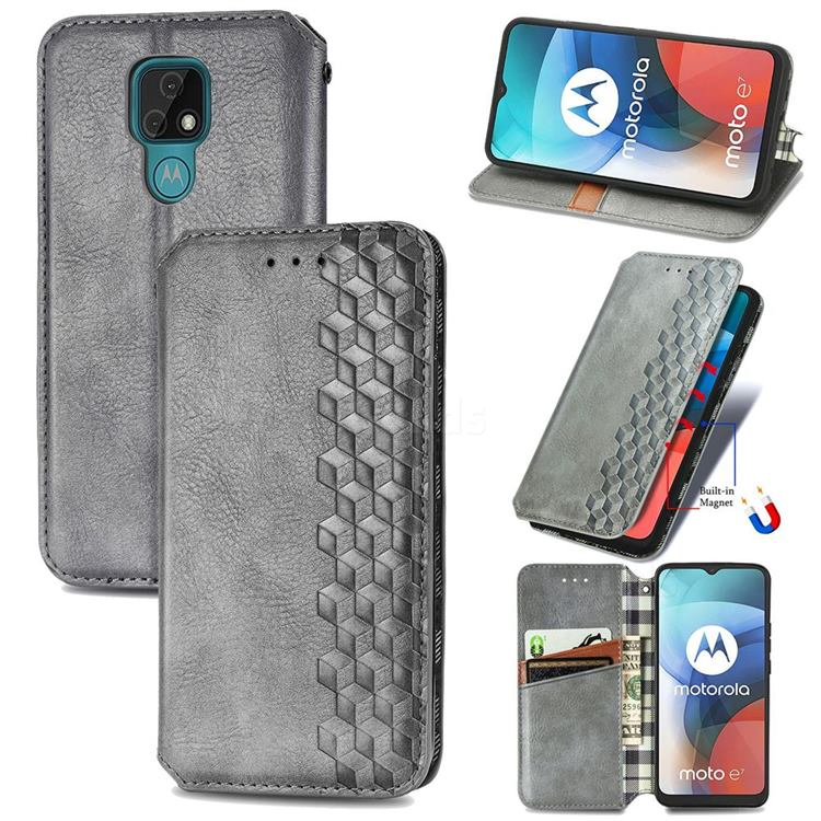 Ultra Slim Fashion Business Card Magnetic Automatic Suction Leather Flip Cover for Motorola Moto E7(Moto E 2020) - Grey