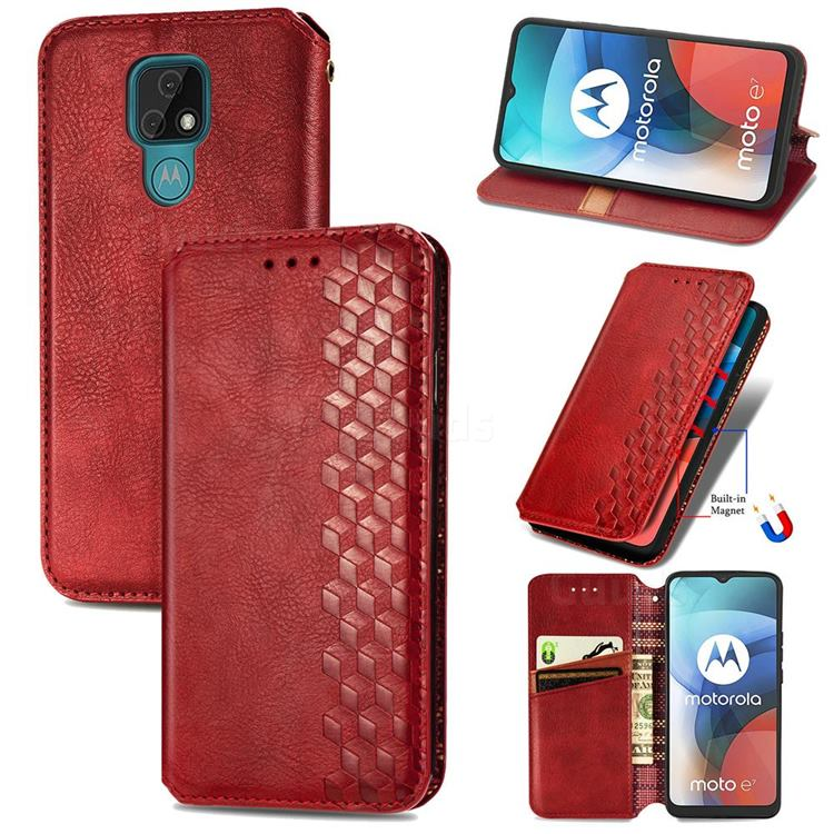 Ultra Slim Fashion Business Card Magnetic Automatic Suction Leather Flip Cover for Motorola Moto E7(Moto E 2020) - Red