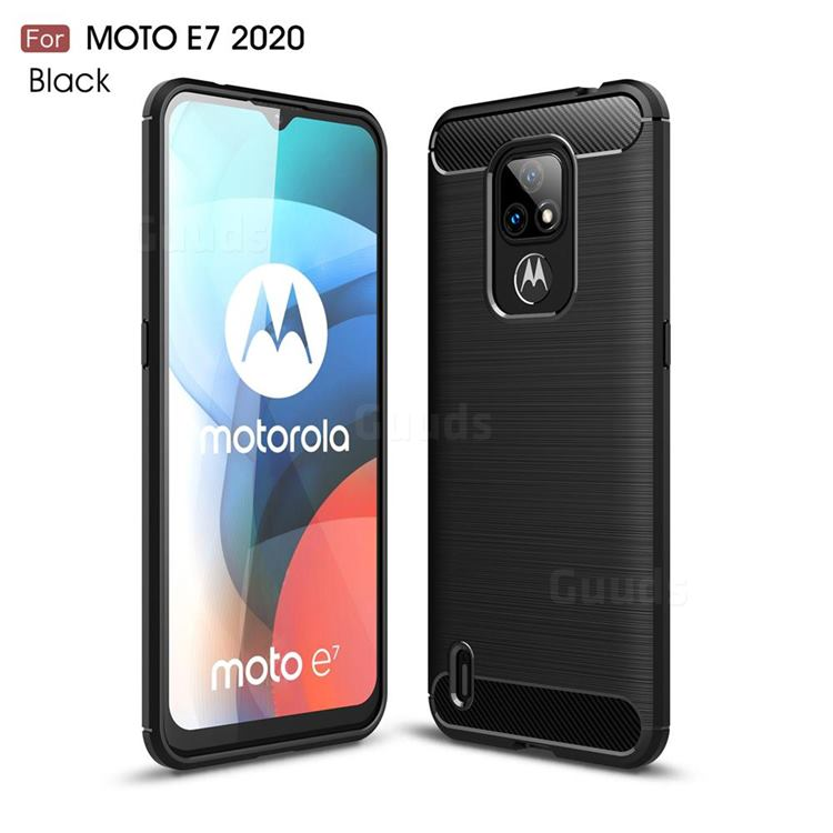 Luxury Carbon Fiber Brushed Wire Drawing Silicone TPU Back Cover for Motorola Moto E7(Moto E 2020) - Black
