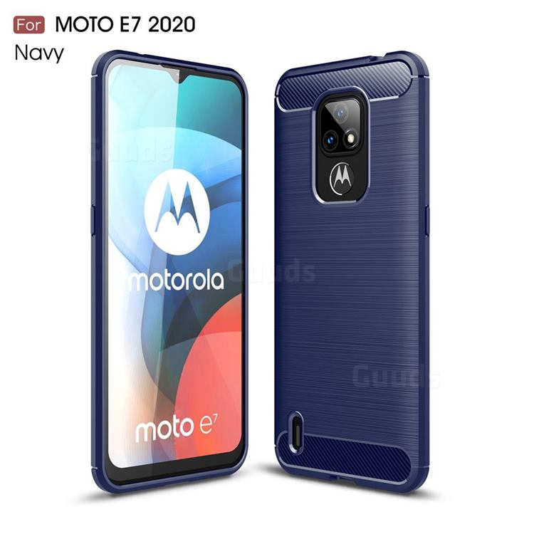 Luxury Carbon Fiber Brushed Wire Drawing Silicone TPU Back Cover for Motorola Moto E7(Moto E 2020) - Navy