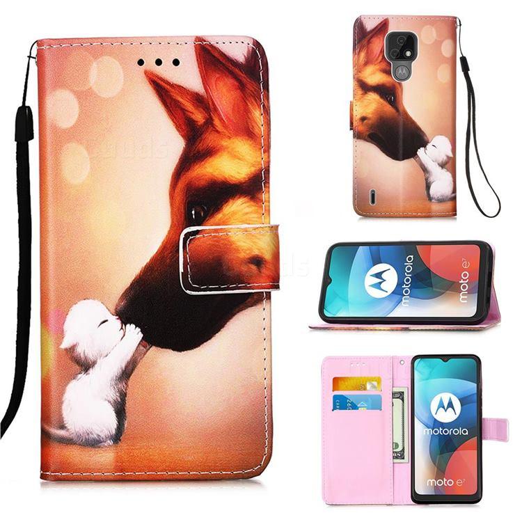 Hound Kiss Matte Leather Wallet Phone Case for Motorola Moto E7(Moto E 2020)