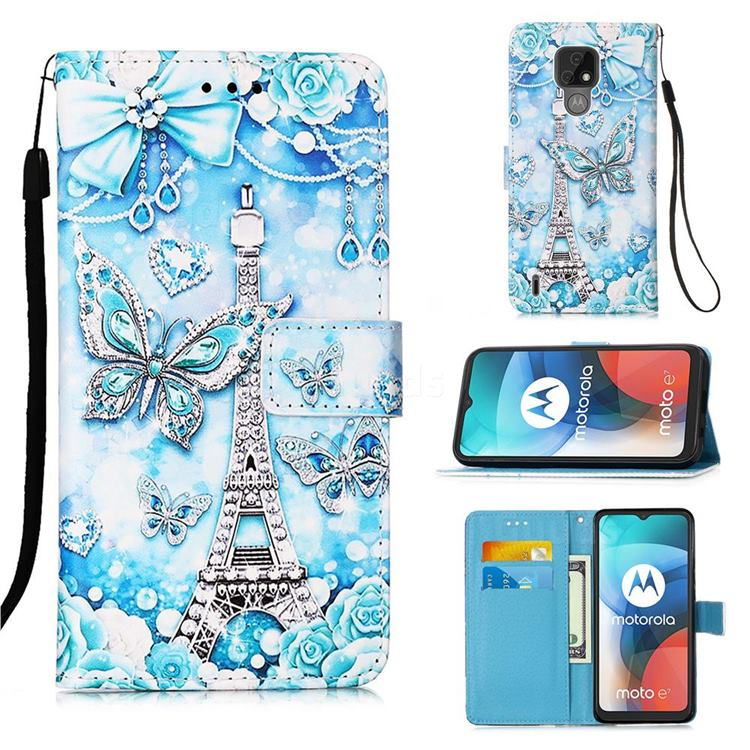 Tower Butterfly Matte Leather Wallet Phone Case for Motorola Moto E7(Moto E 2020)