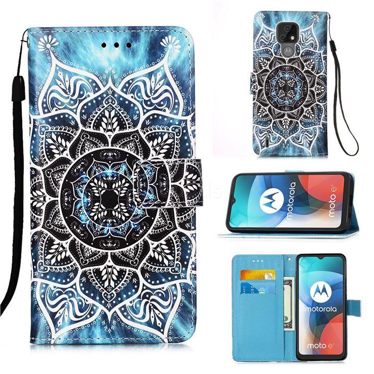 Underwater Mandala Matte Leather Wallet Phone Case for Motorola Moto E7(Moto E 2020)