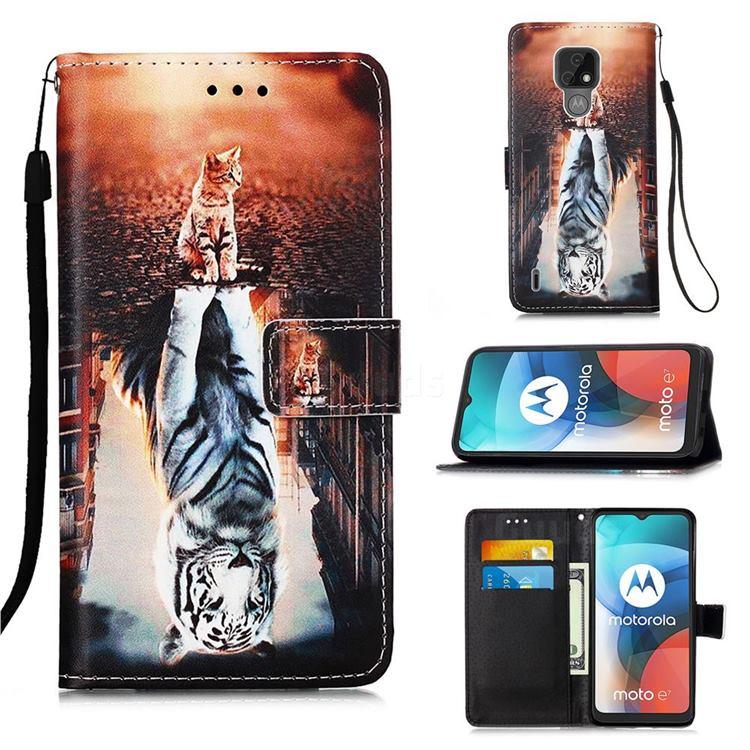 Cat and Tiger Matte Leather Wallet Phone Case for Motorola Moto E7(Moto E 2020)