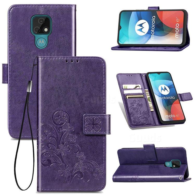 Embossing Imprint Four-Leaf Clover Leather Wallet Case for Motorola Moto E7(Moto E 2020) - Purple
