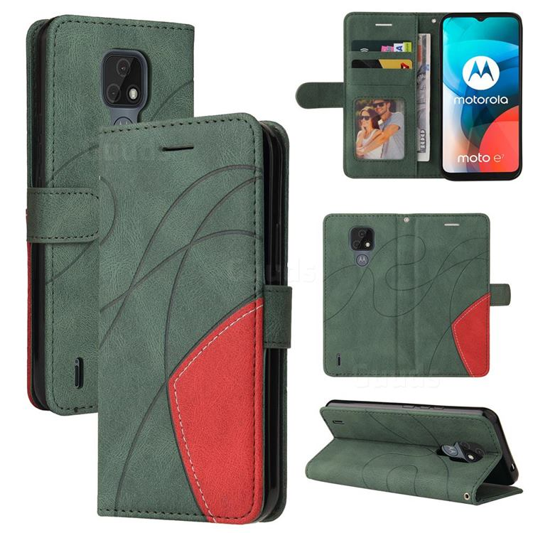 Luxury Two-color Stitching Leather Wallet Case Cover for Motorola Moto E7 - Green