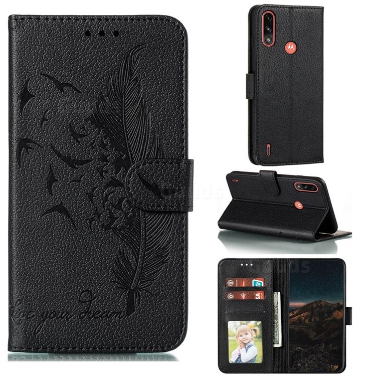 Intricate Embossing Lychee Feather Bird Leather Wallet Case for Motorola Moto E7 Power - Black