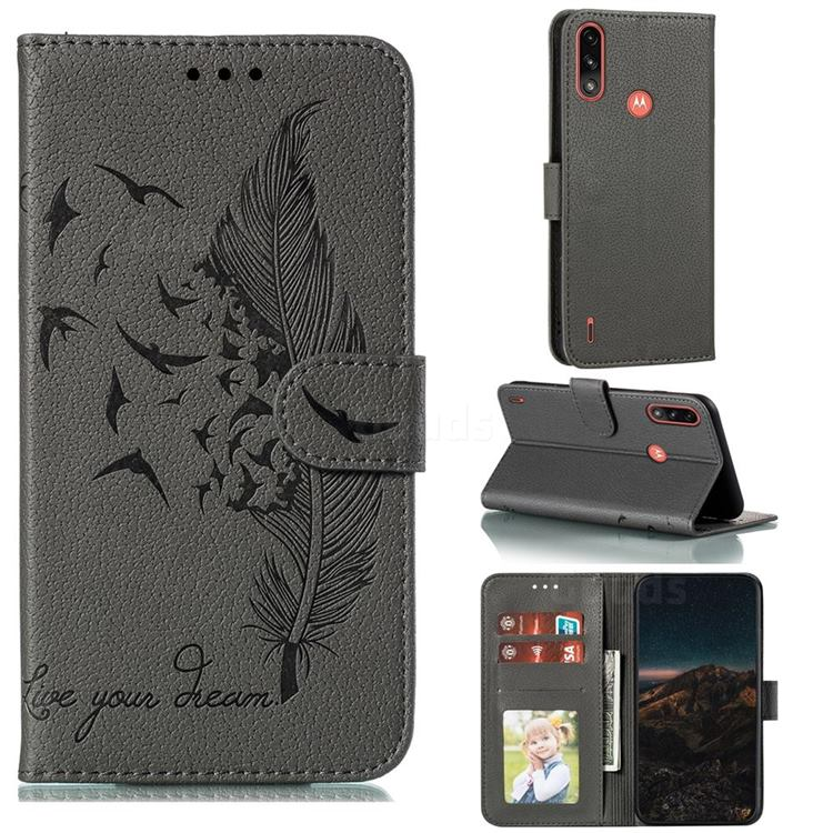 Intricate Embossing Lychee Feather Bird Leather Wallet Case for Motorola Moto E7 Power - Gray