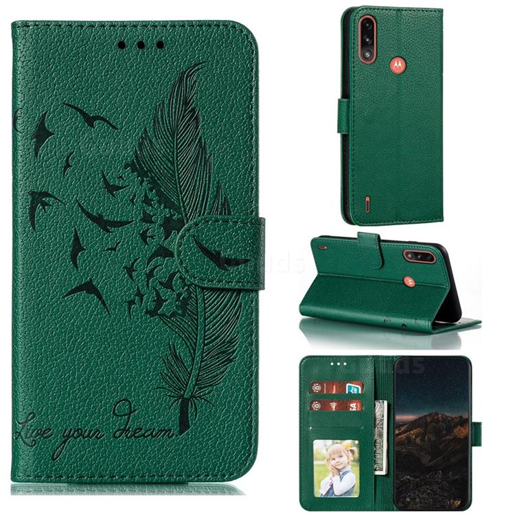 Intricate Embossing Lychee Feather Bird Leather Wallet Case for Motorola Moto E7 Power - Green