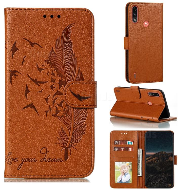 Intricate Embossing Lychee Feather Bird Leather Wallet Case for Motorola Moto E7 Power - Brown